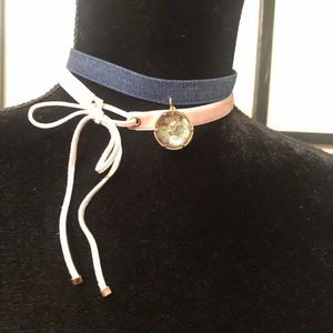 Denim and pink choker necklace